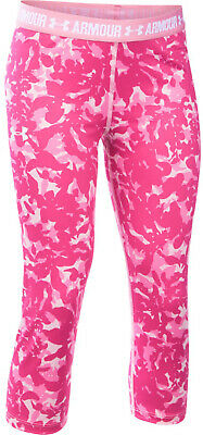 Under Armour Printed Armour Girls Capri Tights Pink 3/4 Junior Running Tight