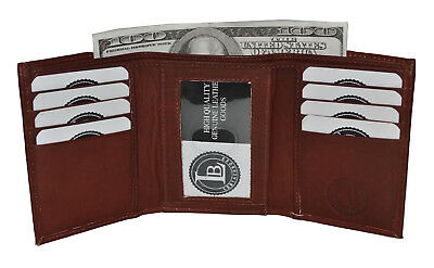 WALLET TRIFOLD PLAIN SLIM ID MONEY POCKETS NEW BROWN by Leatherboss