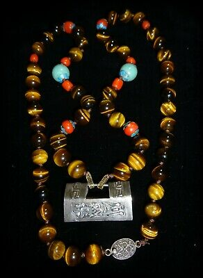 A Vtg Chinese Tigers Eye Necklace Longevity Lock Turquoise Red Coral Enamel