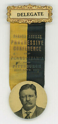 1914 Teddy Roosevelt Progressive Pittsburgh, Pa. Political Pinback Ribbon Button
