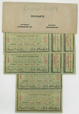 1916 Teddy Roosevelt Progressive Convention, Four Delegate Tickets With Envelope