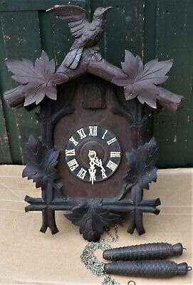 Great Looking Large Old Wooden Cased Cuckoo Clock For Spares Repair