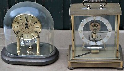 2 Old German Brass Clock Cases With Real Glass For Spares Repairs