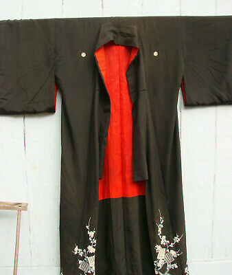 Vintage Japanese Silk Kimono Black RED LINING Floral Blossoms Embroidery