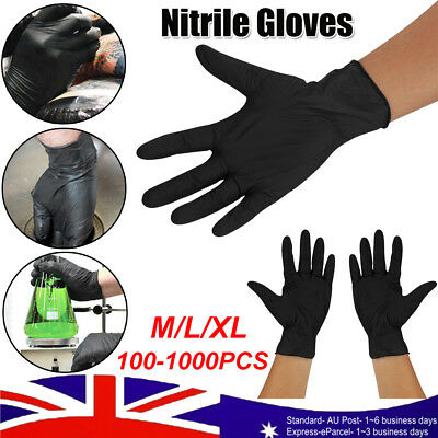 100-1000X Disposable Nitrile Gloves Mechanic Medical Rubber (LATEX FREE) Black #