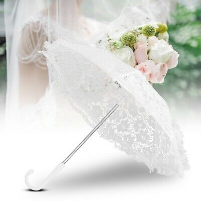 Vintage Lady Parasol Sun Umbrella Lace Embroidered Umbrella Bridal Wedding-Party