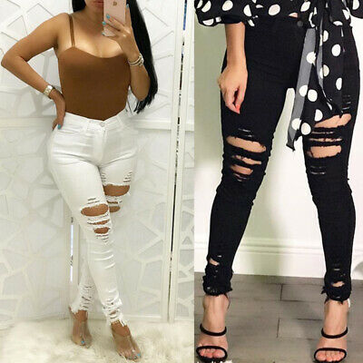 Skinny Trousers Jeggings High Waisted Pencil Pants Womens Stretchy