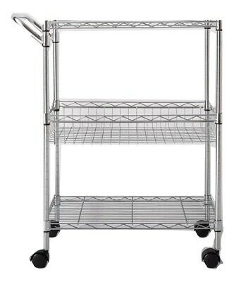 Modern 3 Tier Utility Cart With Wheels And Handle Chrome - Made By Design