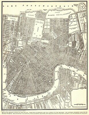 1943 Antique NEW ORLEANS Street Map City Map of New Orleans Louisiana 7410