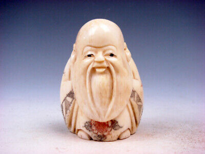Japanese Detailed Hand Carved Netsuke Big Long Beard Old Man Big Ears #01072001