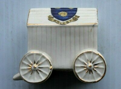 Rare  Carlton China  Stoke On Trent Whitby Crest Wagon Cart