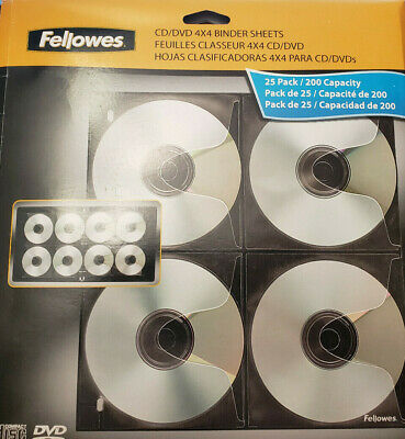 3-Hole Punched Fellowes 95321 CD//DVD Binder Sheets 25//PK Letter Clear