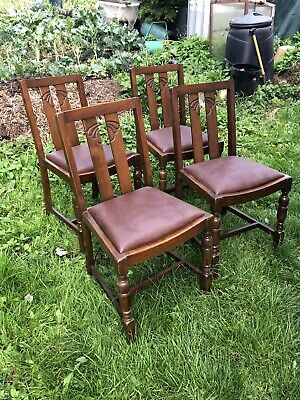 1930's,art deco,oak,dining chairs,drop in seats,chairs,dining room four vintage