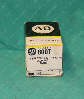 Allen Bradley, 800T-H2, Selector Switch 2Pos 2 Position No Contact Block NEW