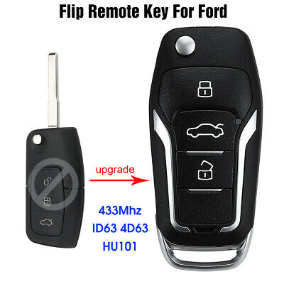 Upgraded Flip Remote Key 433MHz ID63 4D63 Chip HU101 For Ford Mondeo Focus Fiest