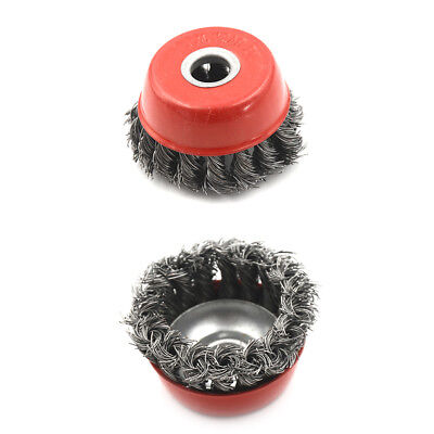 """3"""" Knot Type Fine Wire Cup Brush Wheel 5/8"""" Arbor FITS 4-1/2"""" Angle Grinder ECU"""