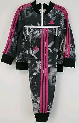 ADIDAS TODDLER GIRLS TRACK JACKET PANT SET TRACKSUIT SZ 24Months DIGITALBLK/PINK