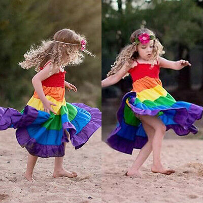 Newborn Toddler Kids Baby Girls Rainbow Pageant Party Princess Dress Clothes US