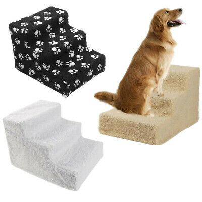 Pet Stairs Dog Cat 3 Steps Portable Ladder Small Ramp Indoor Plush Covered Stair