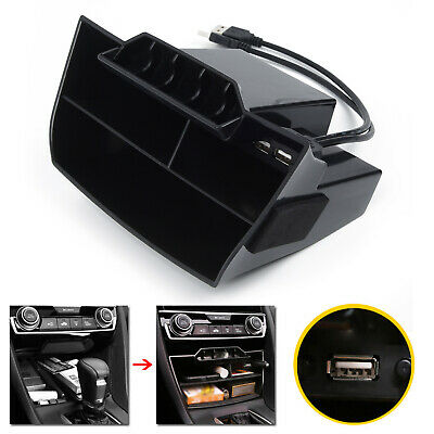 For Honda Civic 2016 2017 2018 2019 ABS Inner Console Central Storage Box W/ USB
