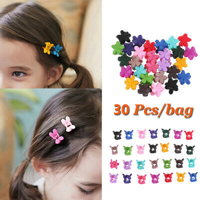 30Pcs Small Flowers Gripper Kids Baby Girls 4 Claws Plastic Mini Hair Clip Claw`