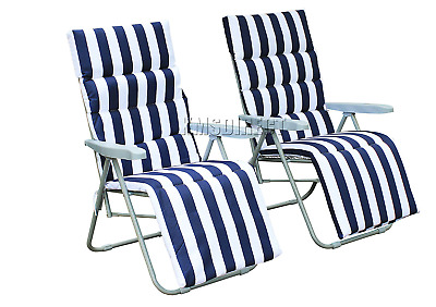 2 Garden Deck Chairs Sun Reclining Loungers Recliners Chairs Seats Outdoor NEW