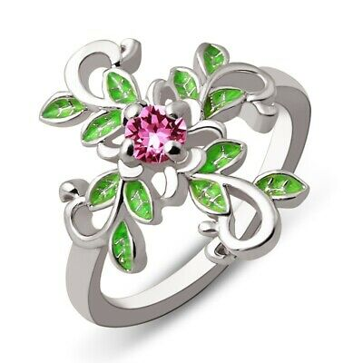 Women 925 Silver Ring Pink Sapphire Beauty Leaf Wedding Engagement Gift Size6-10