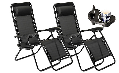 Set of 2 Sun Loungers Garden Deck Chairs Folding Recliners Outdoor Lawn Chairs