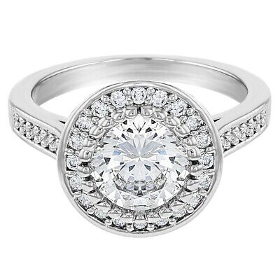 Clear Cubic Zirconia Round Vintage Solitaire Wedding Engagement Ring