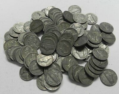Bag Lot of 100 Mixed SILVER WAR NICKELS 1942-1945 PDS  #16