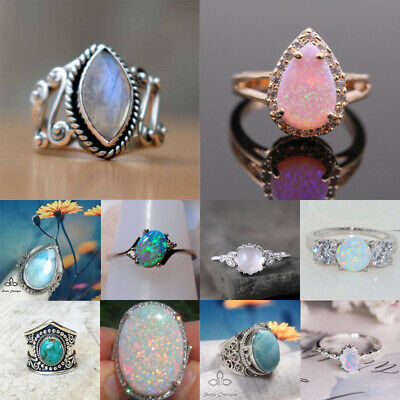 Retro 925 Silver Ring Moonstone Fire Opal Wedding Ring Bridal Jewelry Size 6-10