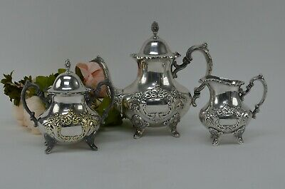 EPCA by Poole Silverplate Teapot #600 - Hand Chased Tea Pot,Sugar Bowl & Creamer