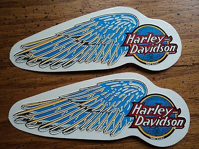 Lot of 2 HARLEY DAVIDSON motorcycle blue wing decals stickers genuine