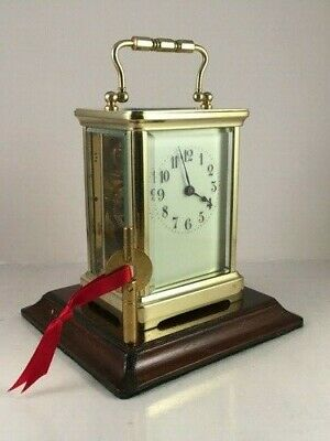 Exquisite antique brass carriage clock & key. Fully restored/serviced Jan.2020