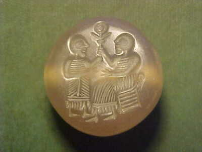 Sasanian dome seal of agate (two figures one enthroned.) circa 224-642 AD.