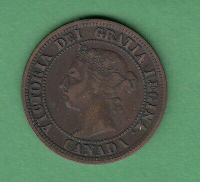 1891 Canadian Large One Cent Coin - LD/LL - VF-20