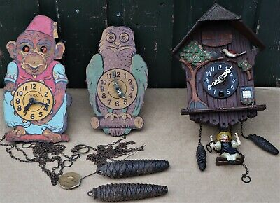 3 Small Old & Unusual Wooden Cased Novelty Wall Clocks Spares Repair