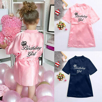Toddler Baby Kid Silk Satin Kimono Robes Bathrobe Birthday Girls Sleepwear IN