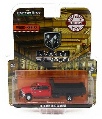 1:64 GreenLight *WORK SERIES* RED 2018 RAM 3500 DUMP TRUCK w/PLOW Dually NIP