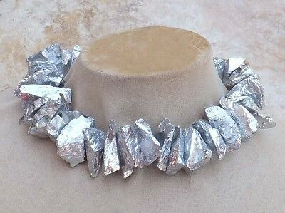 AMAZING SILVER QUARTZ Stone STATEMENT NECKLACE ROUGH jewelry Chunky USA Seller