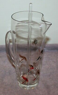 Vintage Mid Century Modern Glass Pitcher/Stirrer Fishing Fly Lures Signed Meth