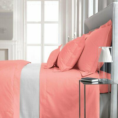 """FRANCE YVES DELORME ROMA 18/"""" DEEP POCKET FITTED SHEET IN AQUA BLUSH COLOR***"""
