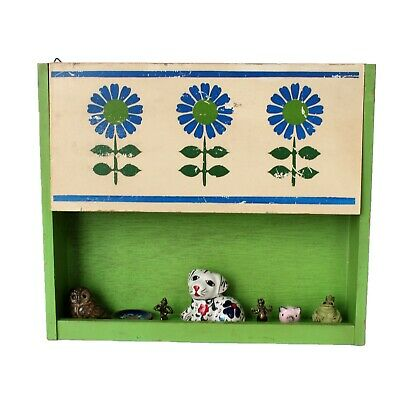 Vintage Small Wooden Display Shelf Organizer Rustic Kitchen with Deco Figurines