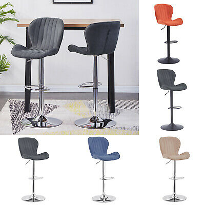 Bar Stools Adjustable Bar Chairs Faux Suede Swivel Black Legs Breakfast Kitchen