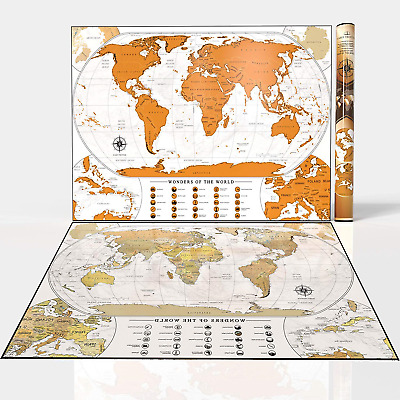 Habit Trotter Scratch Off Map of The World with Outlined US States White Wall |