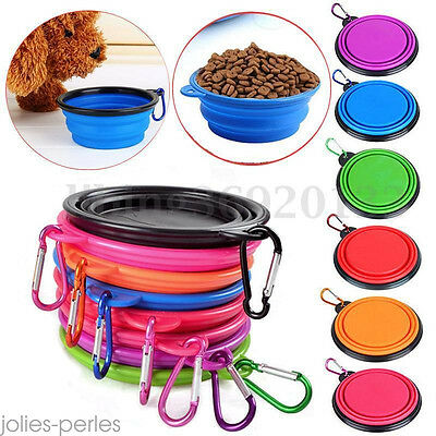 New Collapsible Pet Cat Dog Food Dish Feeder Foldable Water Feeding Bowl