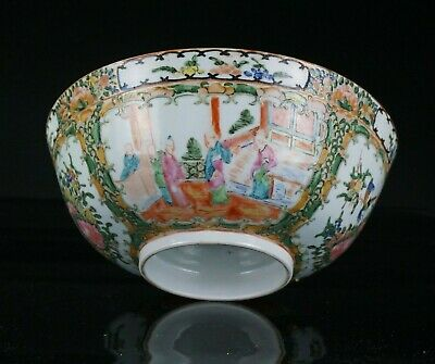 Large Antique Chinese Canton Famille Rose Porcelain Punch Bowl 19th C QING