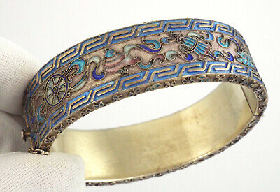 Chinese Export Antique Vermeil Sterling Silver Enamel Bracelet