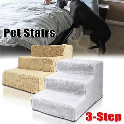 Dog Pet Stairs Cat 3-Steps Indoor Ramp Folding Animal High Bed Ladder with Cover