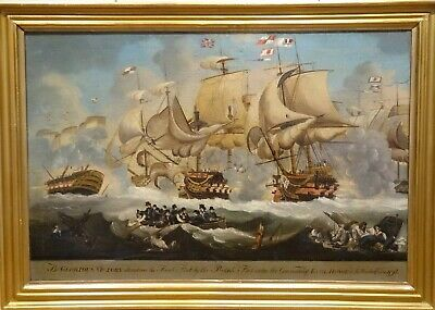 19th Century Glorious First Of June Navy Battle French British Antique Painting